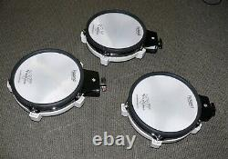 3 PACK Roland V Drums PD-80 Electronic 8 TOM Trigger Mesh pads in white
