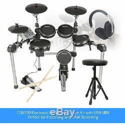 Digital Drum Kit MESH Electronic Set with Practice Sticks, Headphones and Stool