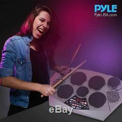 Pyle Pro Electronic Drum kit Portable Electric Tabletop Drum Set Machine wi
