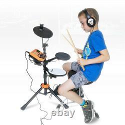Silent Drum Set, Stool & Headphones 3 Piece Electronic Digital Kids Practice Kit